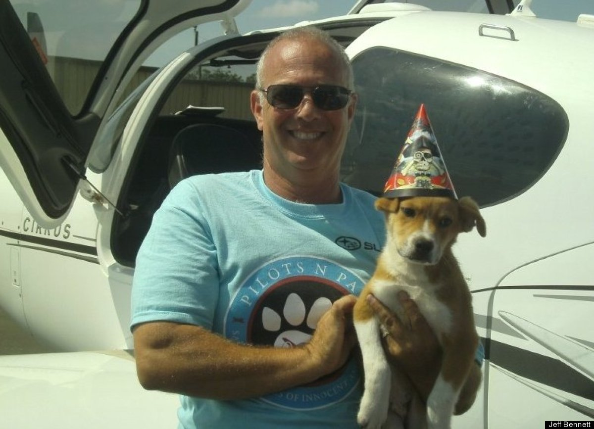 "This little dog shared Bennett's big milestone. ""This was my 1000th critter saved,"" said the pilot. ""He looks like he had a r"