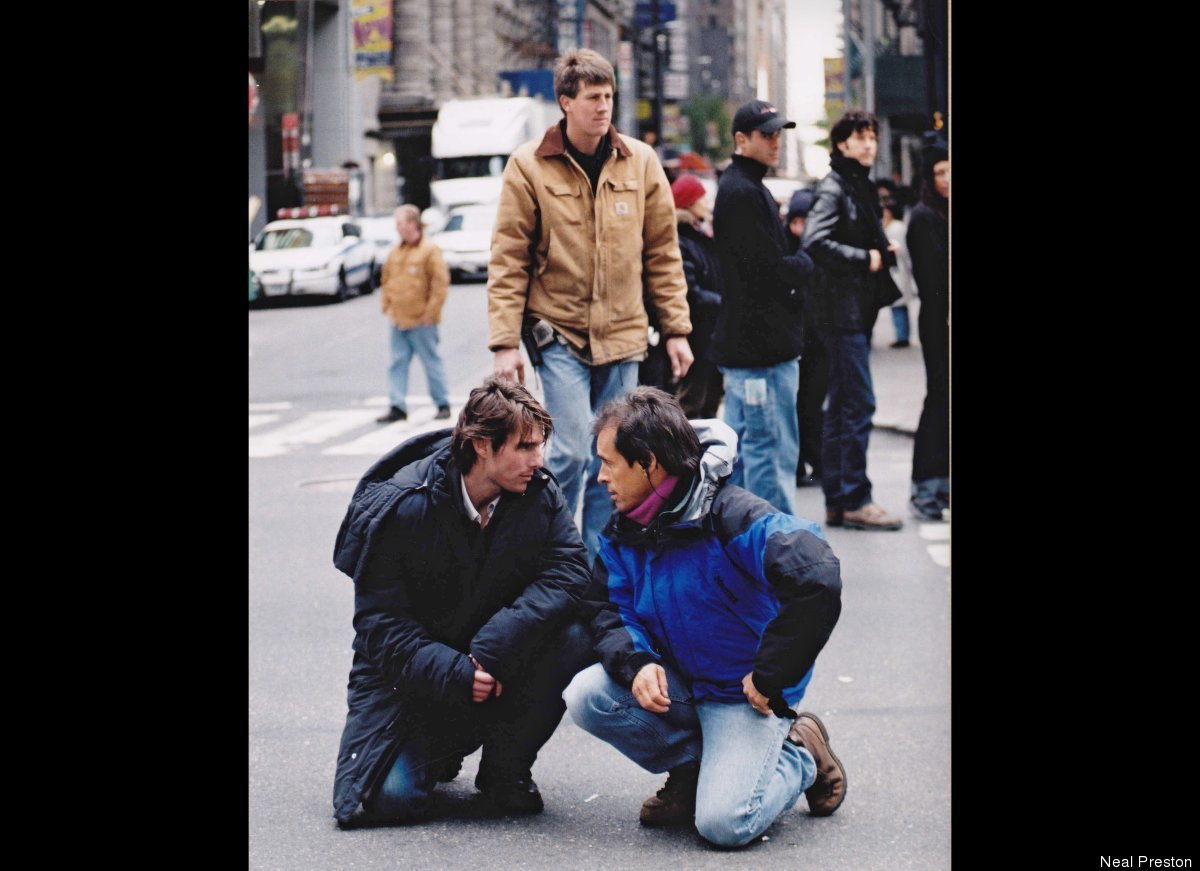"""David McGiffert with Tom Cruise in Times Square shooting """"Vanilla Sky."""""""