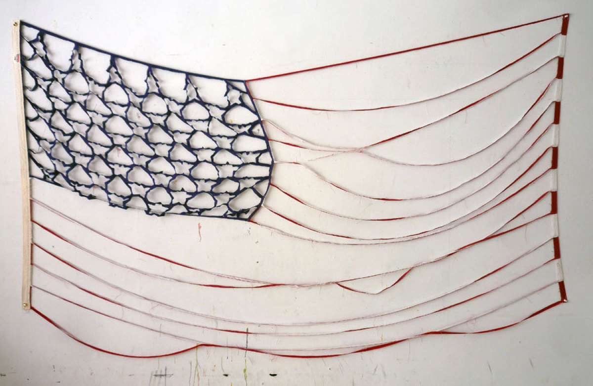 Deconstructed Flag #3 (Bare Bones), 2012, Cotton, 112 x 57 inches, courtesy of the artist and envoy enterprises, New York.