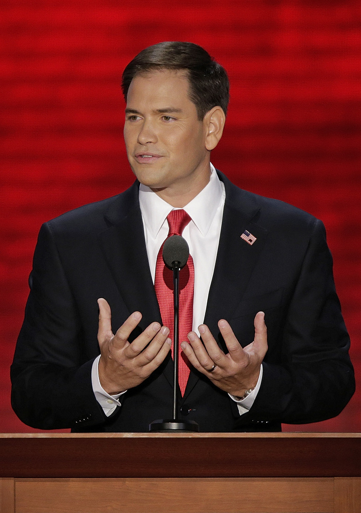 Florida Senator Marco Rubio addresses the Republican National Convention in Tampa, Fla., on Thursday, Aug. 30, 2012. (AP Phot