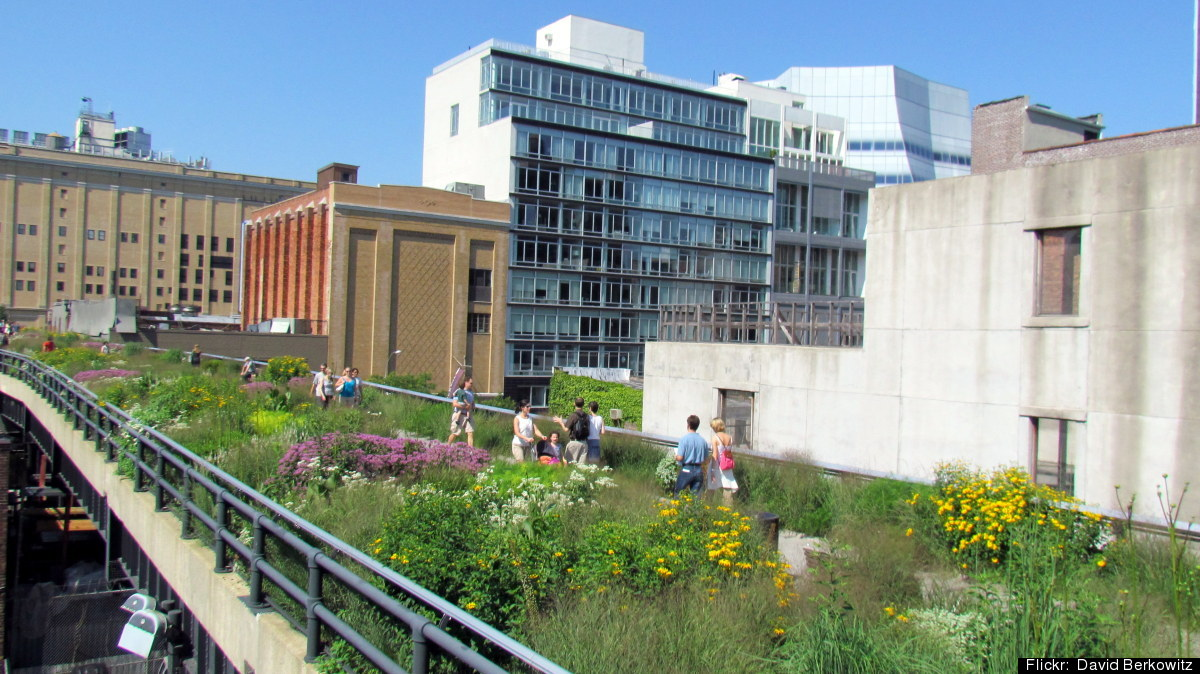 The High Line is a 1-mile aerial greenway built on a former elevated Railroad line, which runs along Manhattan's West Side fr