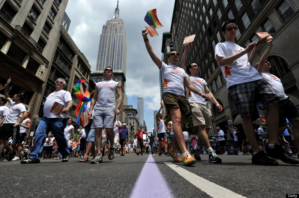 A group walks down Fifth Avenue during the New York City gay pride march June 26, 2011. The New York state legislature voted