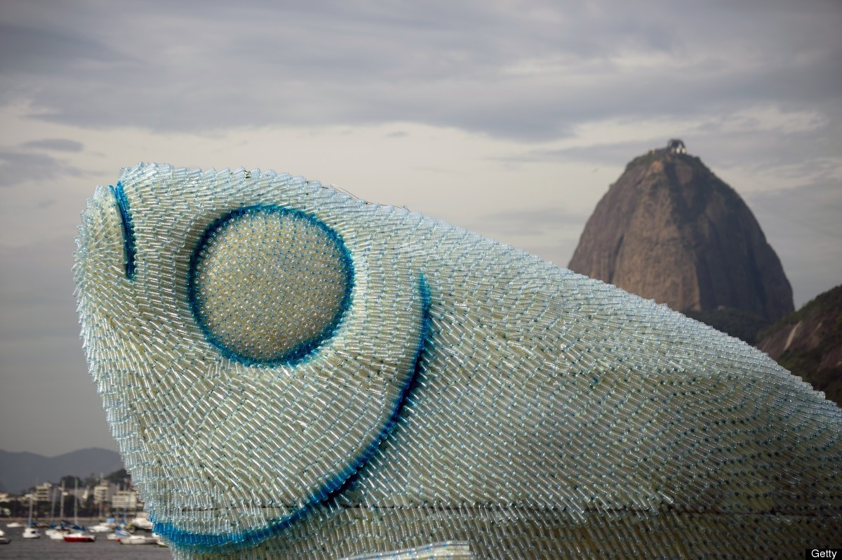 Partial view of an installation made of recycled plastic bottles representing fishes, in Botafogo beach, in Rio de Janeiro, o