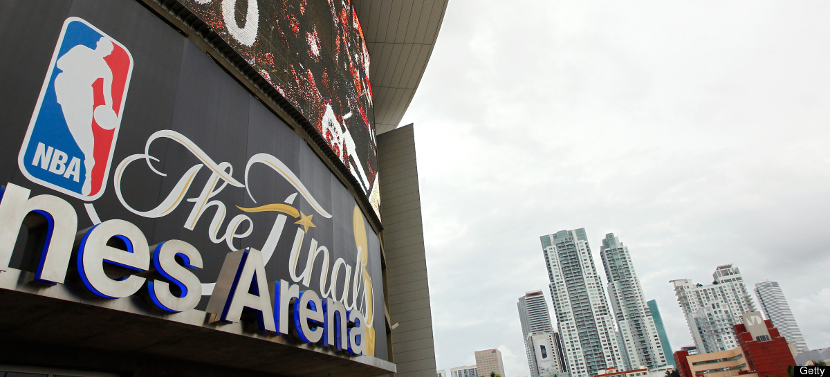 A detail of the Finals logo is seen on the video board outside the arena prior to the Miami Heat hosting the Oklahoma City Th