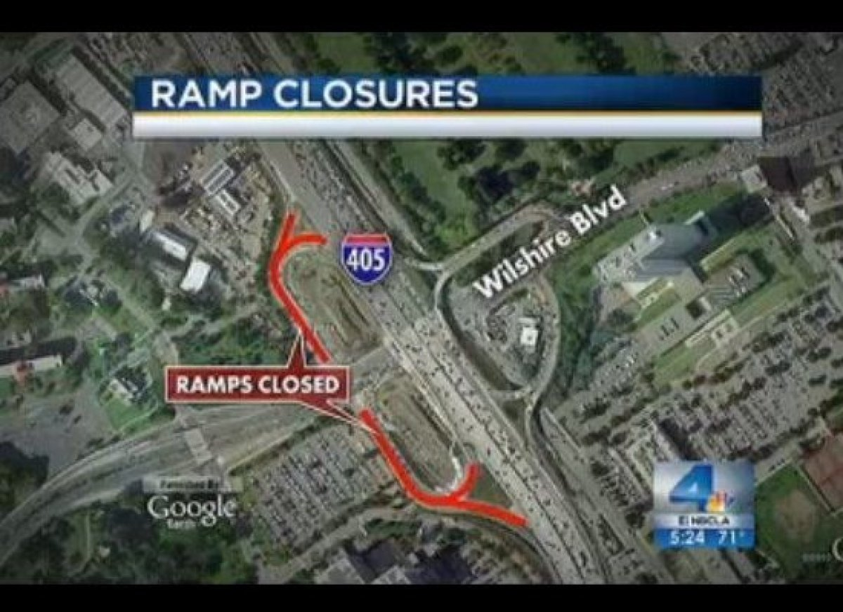 Wilshire ramps that will be closed on the 405 freeway.
