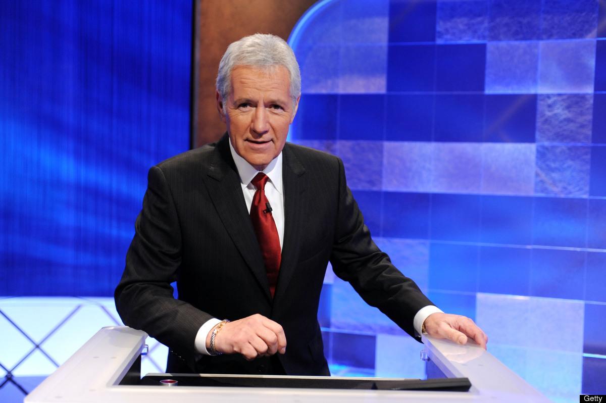 CULVER CITY, CA - APRIL 17:  Game show host Alex Trebek poses on the set of the 'Jeopardy!' Million Dollar Celebrity Invitati