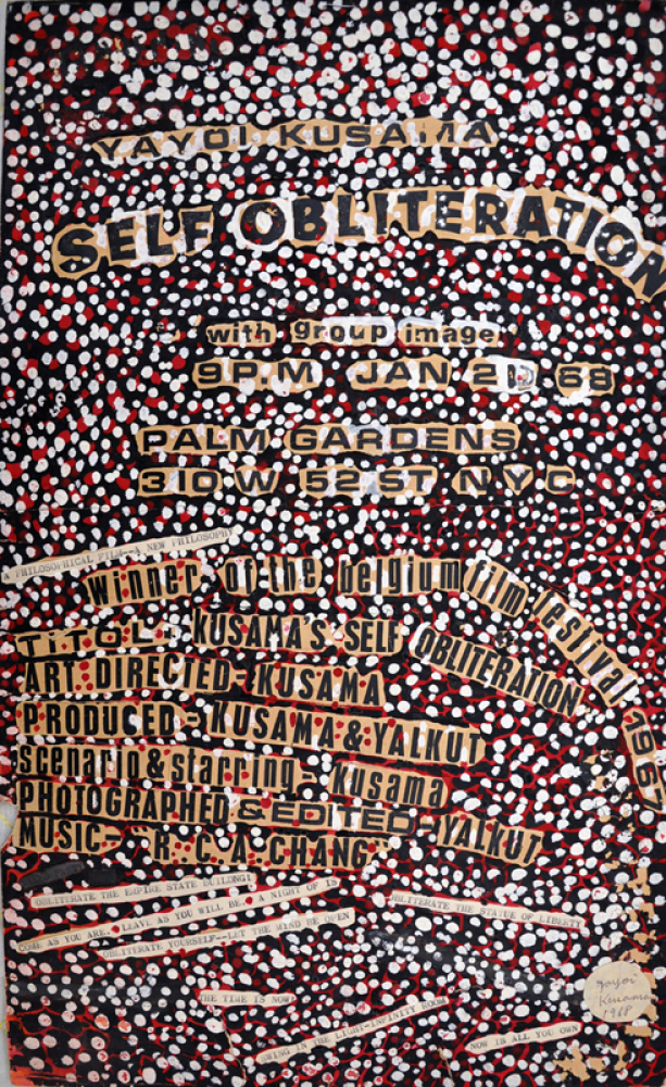 Yayoi Kusama (b. 1929), Self-Obliteration (original design for poster), 1968. Collage with gouache and ink on paper, 18 1/8 x