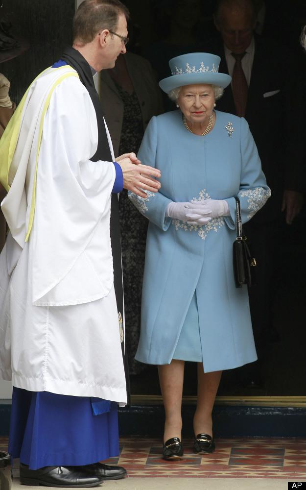 Britain's Queen Elizabeth II leaves a service of Thanksgiving in Saint Macartin's Cathedral in Enniskillen, Northern Ireland,