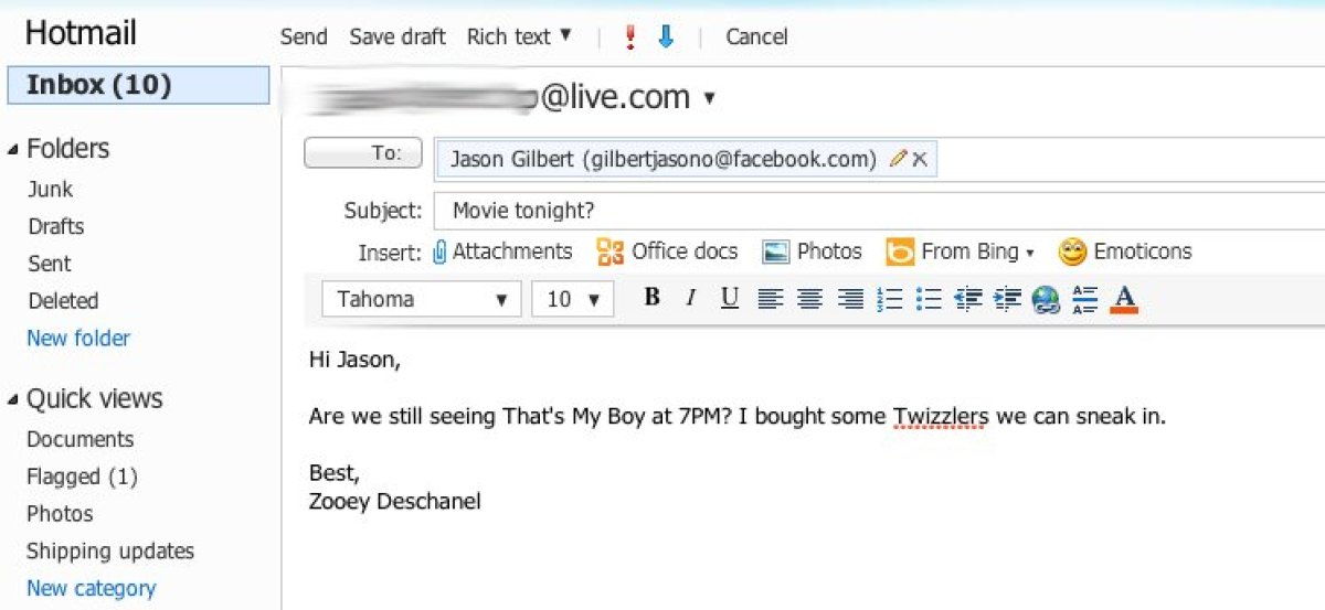 So, here's how it works. I (or Zooey Deschanel) can send an email to a Facebook email address...