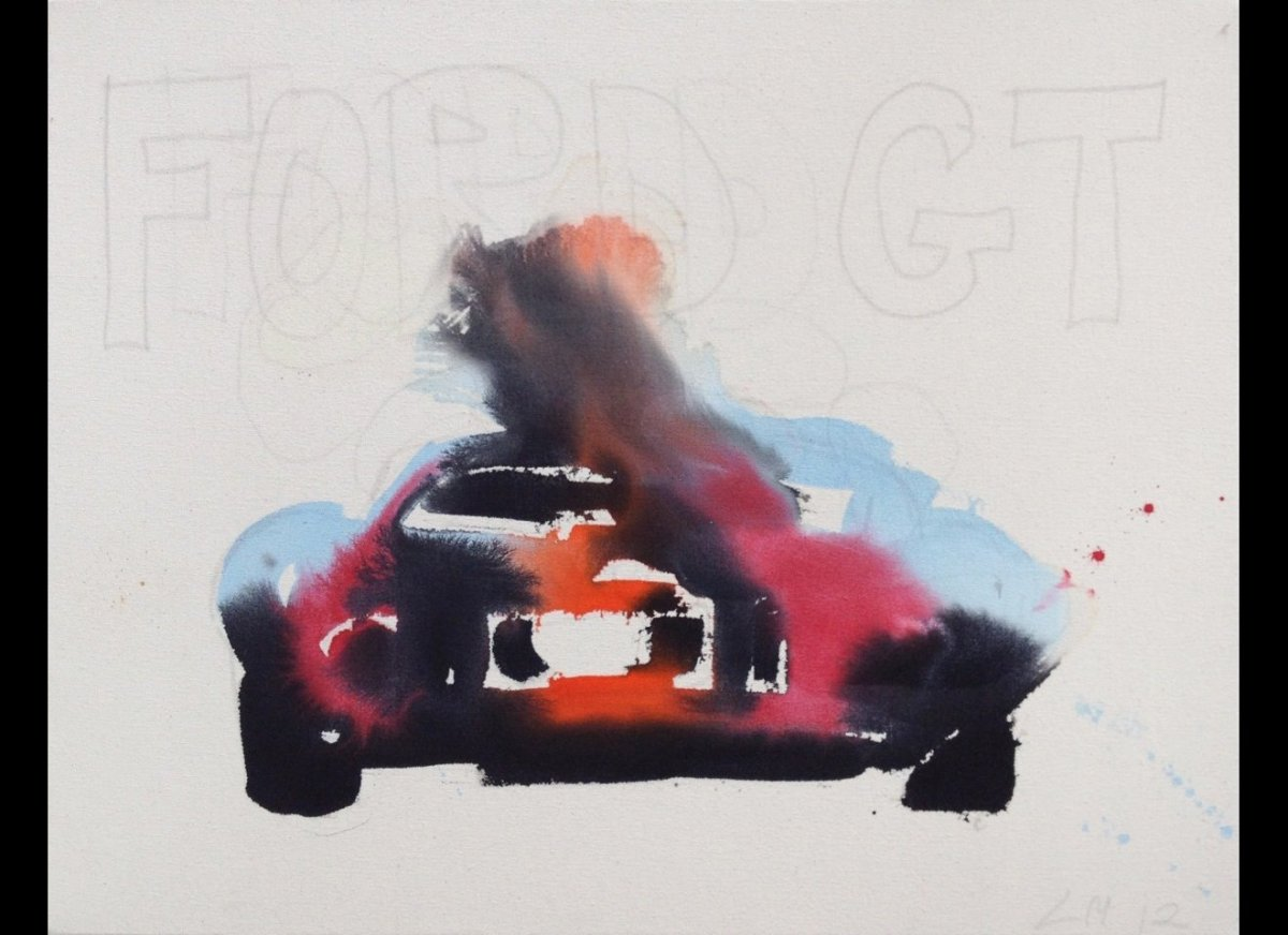 <em></em><em>Ford GT 1</em>, 2012, acrylic and graphite on unprimed canvas, 24 x 36 inches</em><strong>Imagined and created b