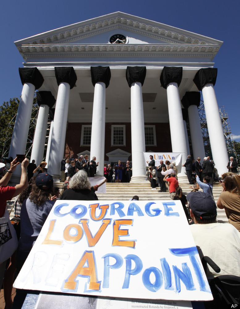 University of Virginia President Teresa Sullivan addresses a crowd of supporters outside the university Rotunda after she was