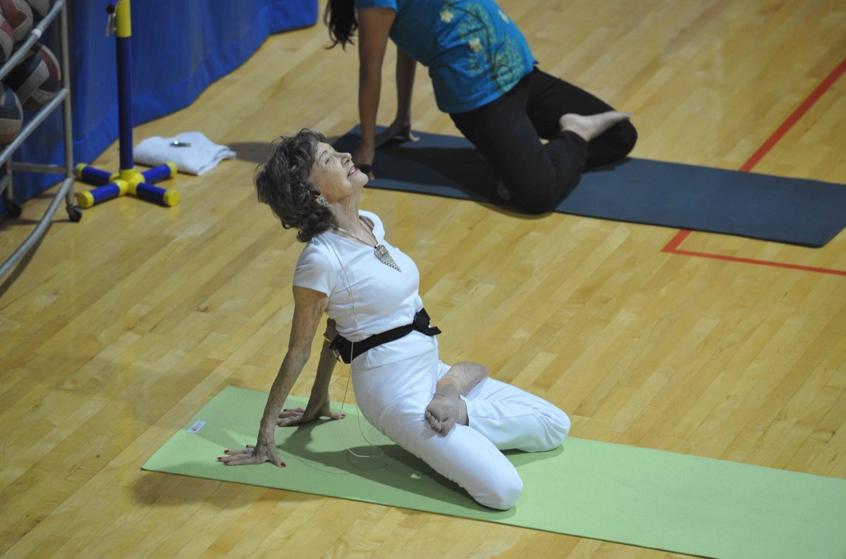 Yoga at the Pentagon with 93-year-old Tao Porchon-Lynch -- Lotus Stretch