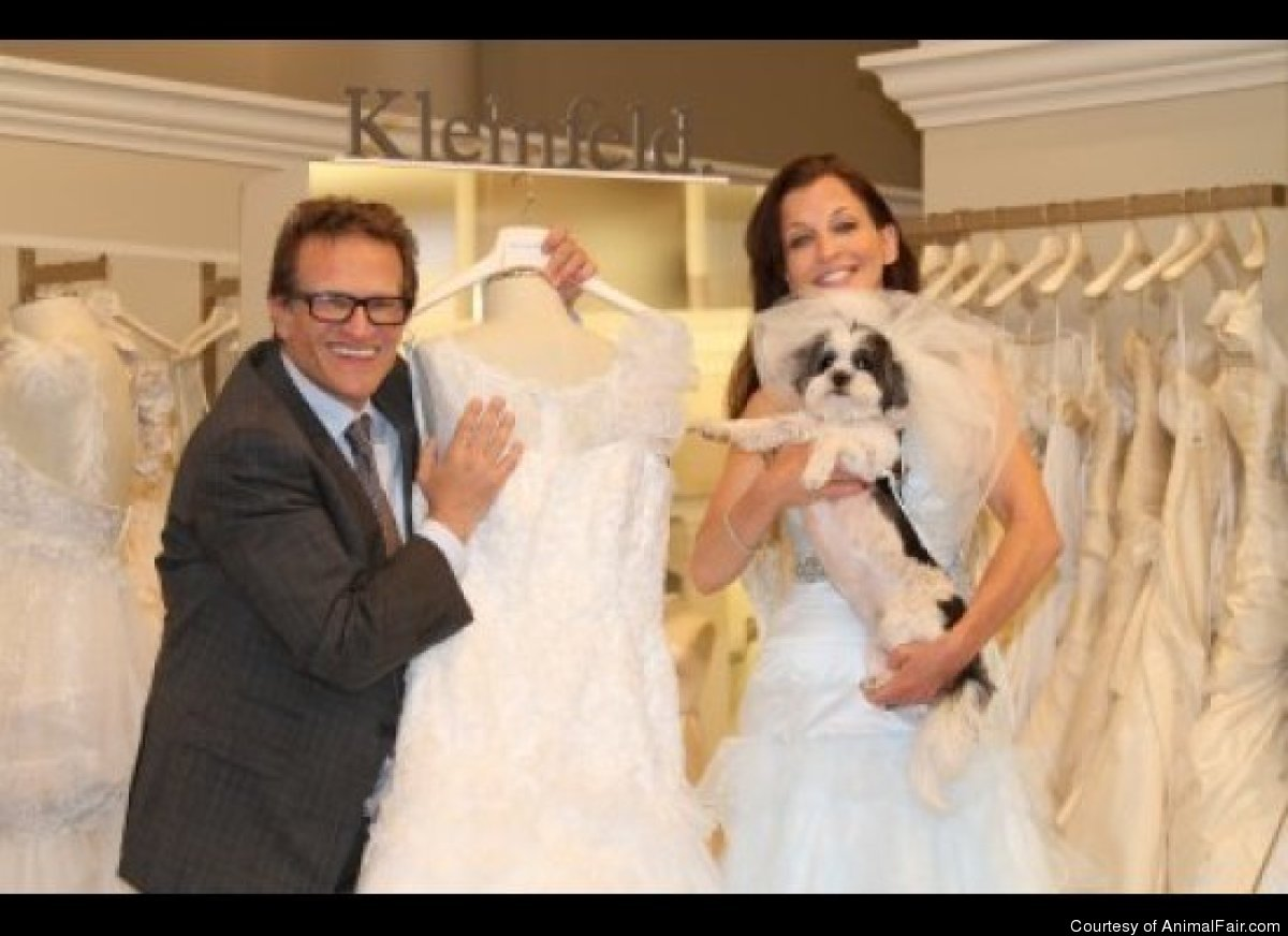 Wendy Diamond and Baby Hope at Kleinfeld, with dress designer Henry Roth.