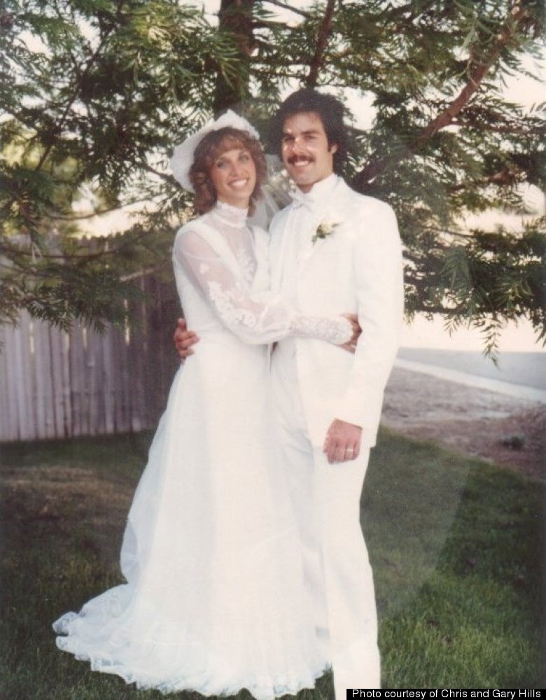 Chris and Gary Hills on their wedding day on June 26, 1982.