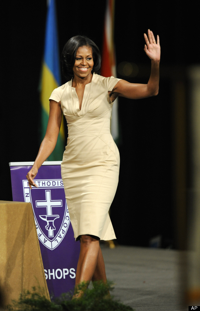 First lady Michelle Obama waves before giving the keynote address to the African Methodist Episcopal Church general conferenc