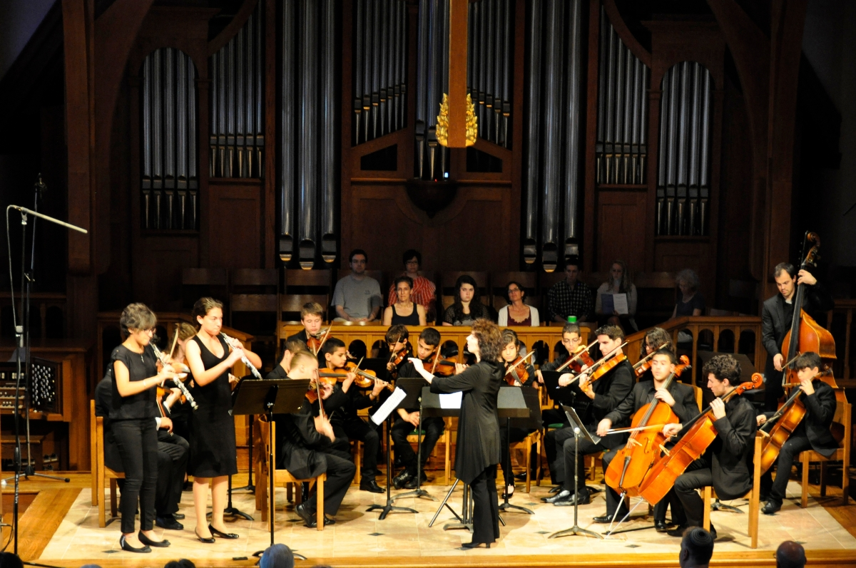 Acclaimed Israeli conductor Karin Ben Josef with the Polyphony Youth Orchestra performing in Greenwich, Conn., on June 21, 20