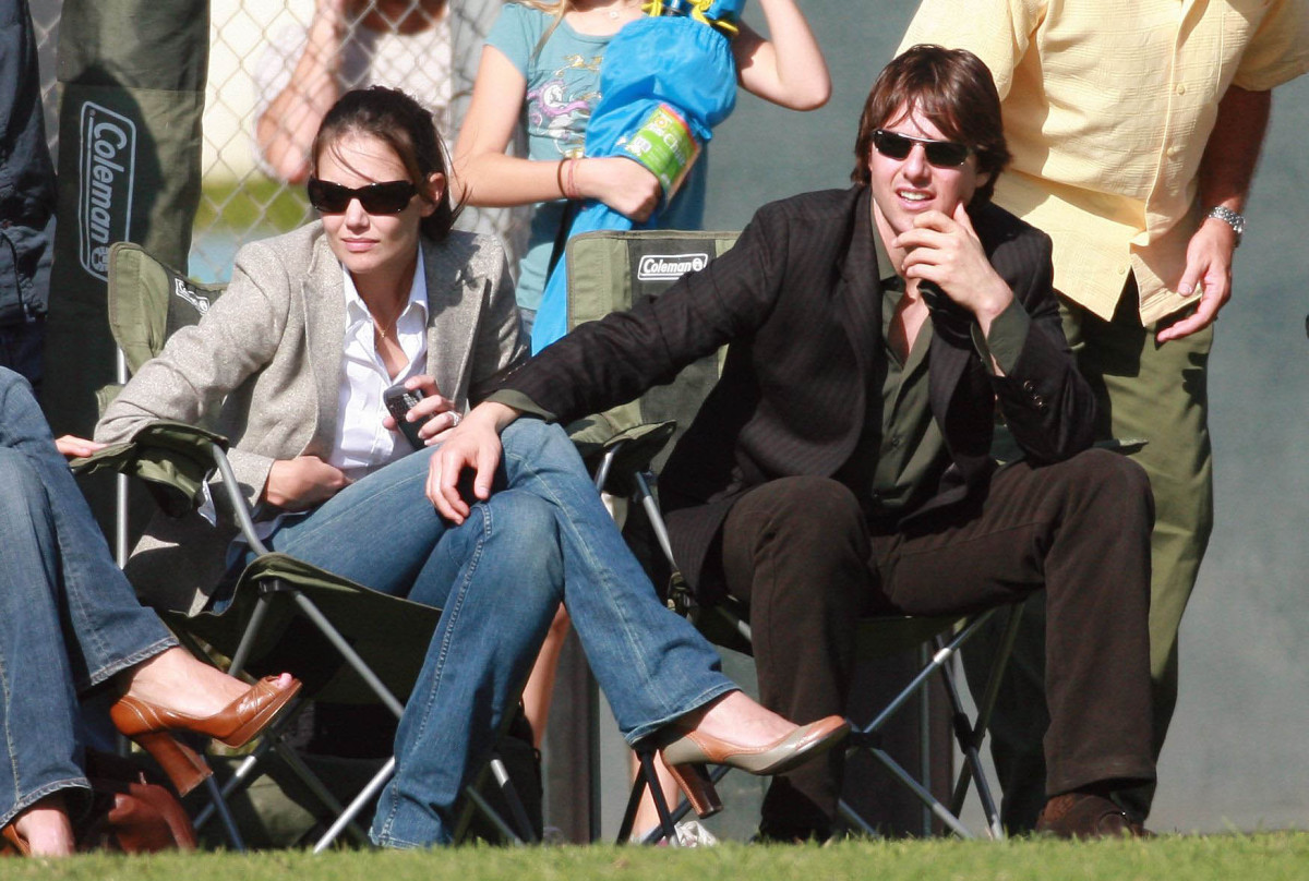 Tom Cruise and Katie Holmes watch Cruise's daughter, Isabella, play soccer.  (Sept. 16, 2006)