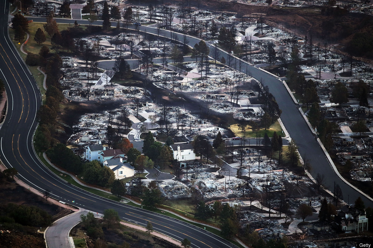 COLORADO SPRINGS, CO - JUNE 30:  Homes destroyed by the Waldo Canyon fire are seen from the air in a neighborhood on June 30,