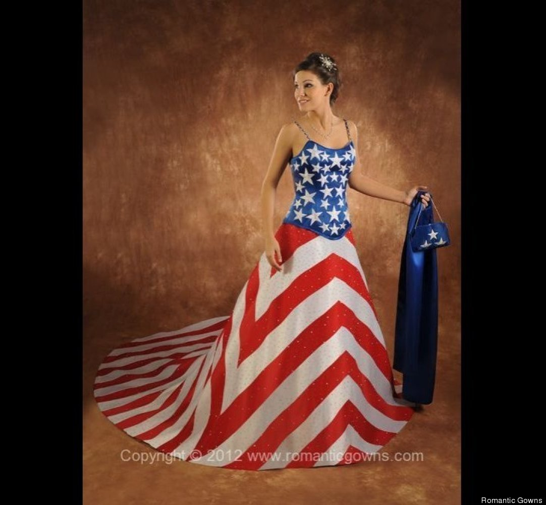 "Something old, something new, something borrowed, something red, white and blue! Via <a href=""http://www.romanticgowns.com/"""
