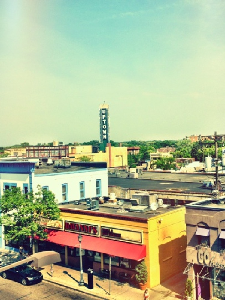 View of Uptown theatre from The Cafeteria Rooftop