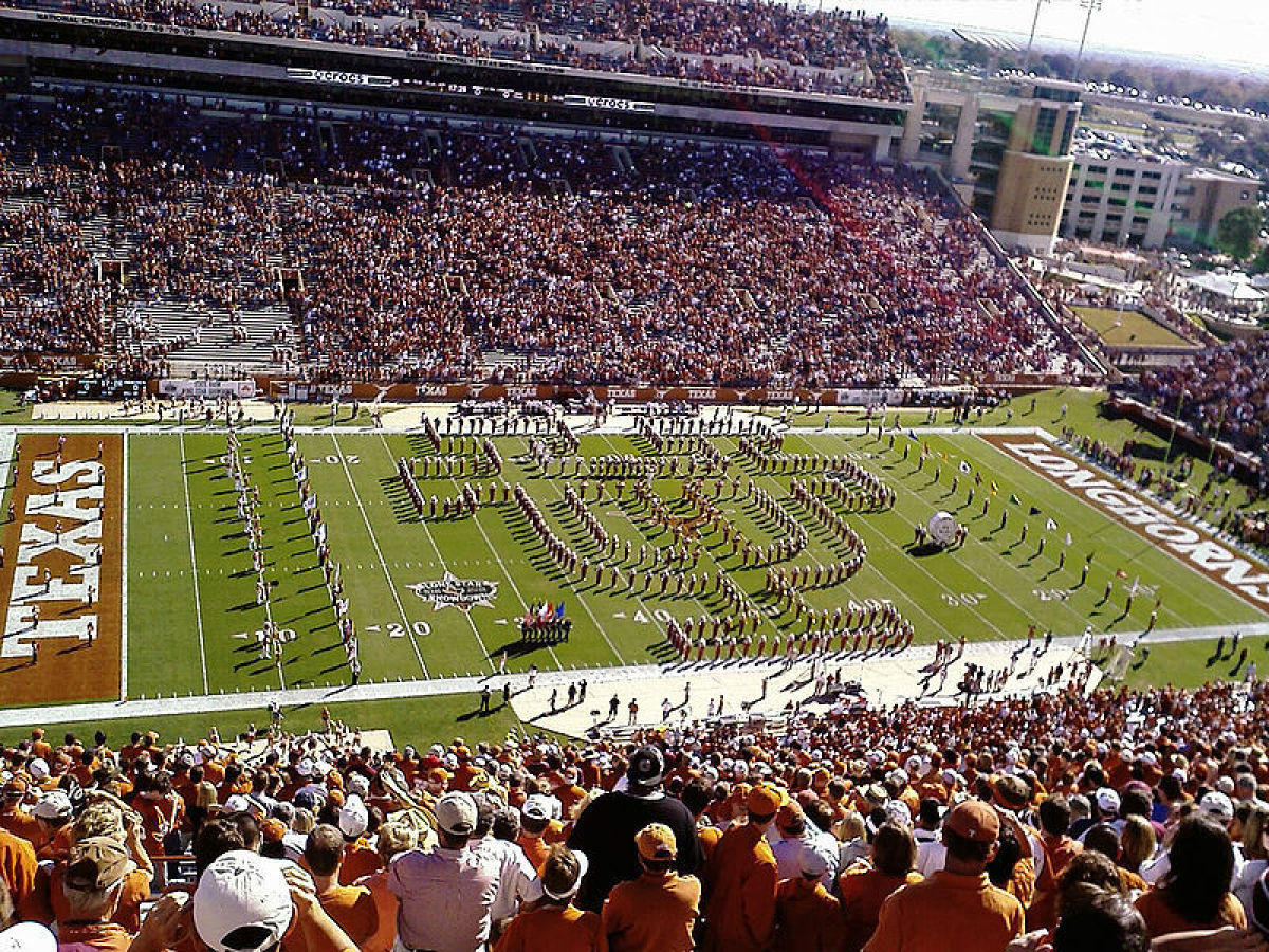 The University of Texas' Longhorn Band is comprised of 350 students, and performs both traditional shows and non-traditional