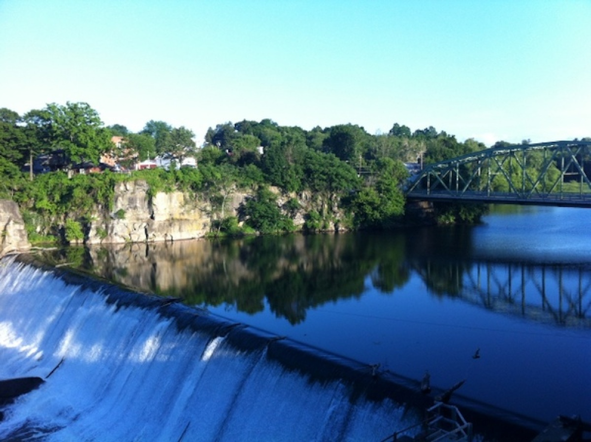 View of Eposus Falls from my room at the Diamond Mills Hotel.  Credit: Jerome Levine