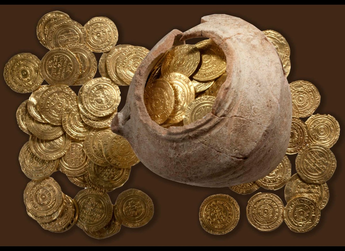 Gold coins found at Apollonia National Park in Israel. The coins are valued up to $500,000.