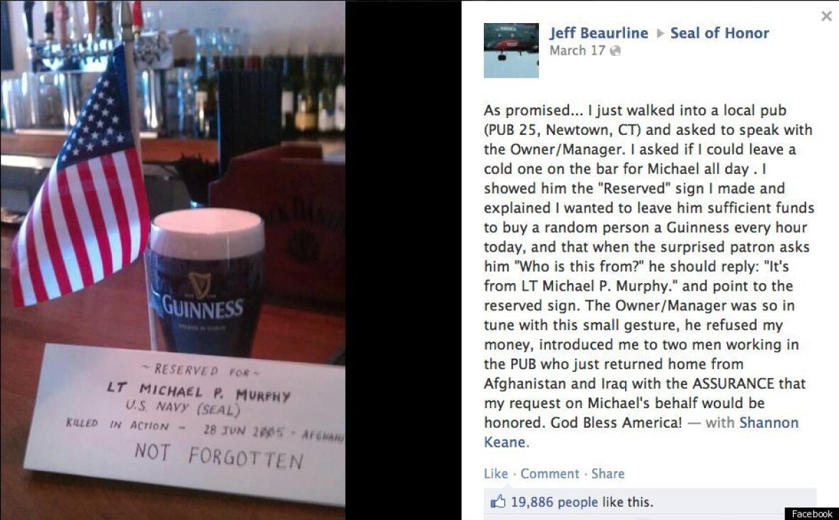 "To honor the memory of a soldier who was killed in action, <a href=""http://www.huffingtonpost.com/2012/03/23/facebook-user-se"