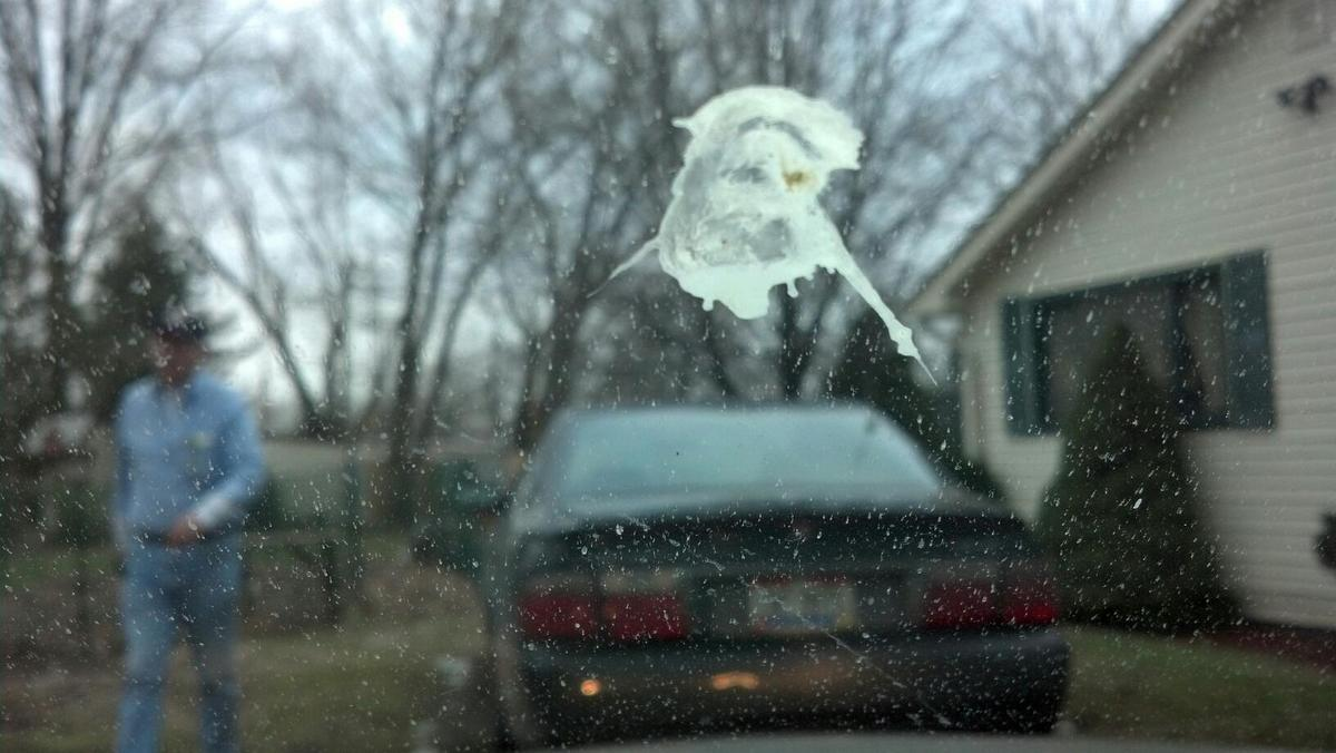 """It's like Jesus staring right at me,"" says Jim Lawry of Brooklyn Ohio, who posted a YouTube video of bird poop that looks, a"
