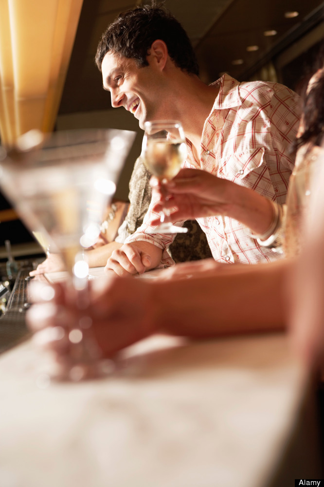 Rather than nursing a drink sitting down, belly up to the bar, or grab dinner at a high table with bar stools. 