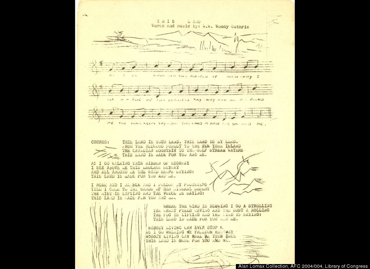 "A page of Woody's mimeographed booklet showing an early version of the lyrics of ""This Land."" Used courtesy of the Associatio"