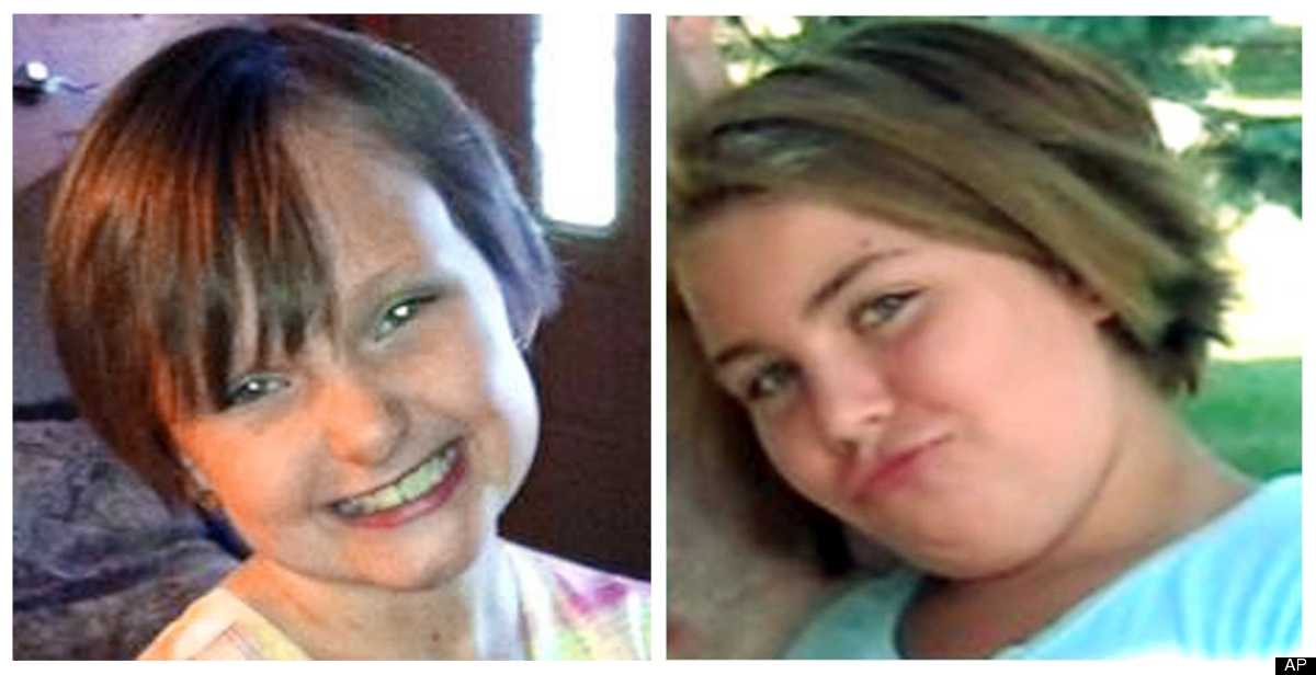 This combo made from undated photos provided by the FBI shows cousins Lyric Cook, 10, right, and Elizabeth Collins, 8, who ha