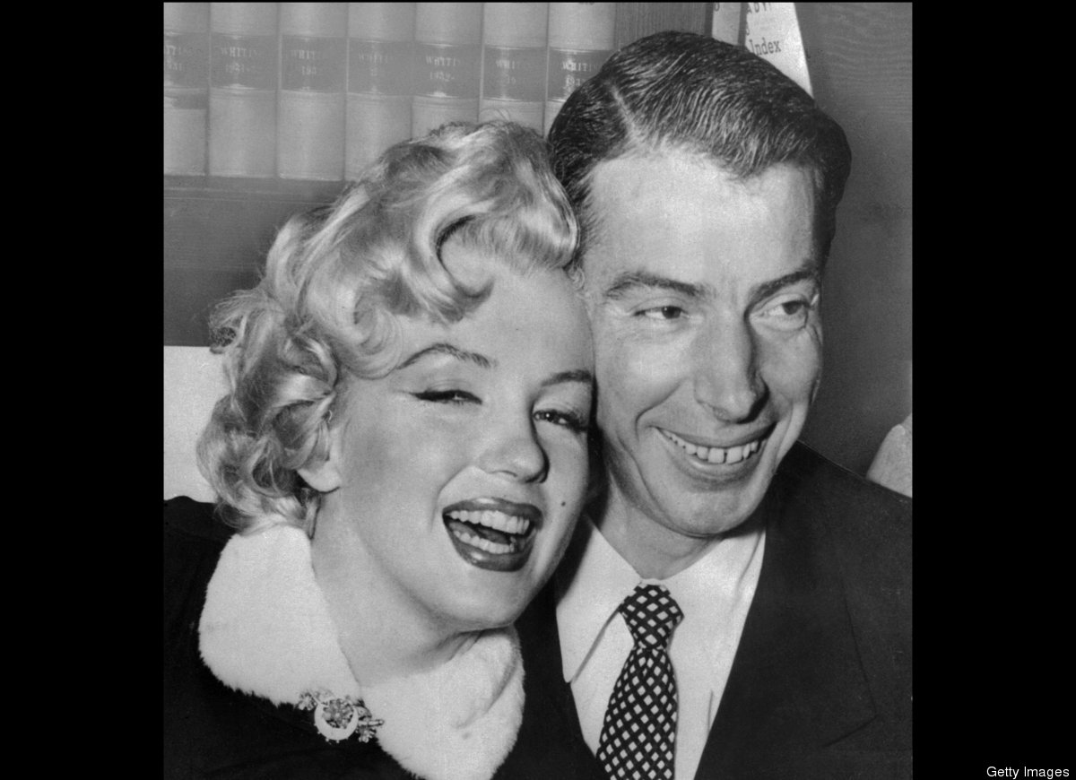 Picture from April 1, 1954 of American actress Marilyn Monroe with her husband, baseball legend Joe DiMaggio during their wed