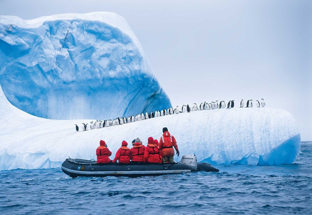 """Lindblad Expeditions-National Geographic guests pass a colony of penguins aboard a Zodiac. ©Ralph Lee Hopkins  <a href=""""htt"""