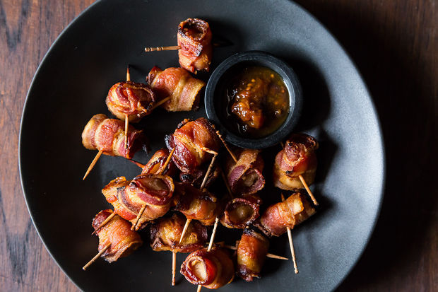 """<strong>Get the <a href=""""http://food52.com/recipes/20525-the-elegant-hors-d-oeuvre-s-bacon-wrapped-water-chestnuts"""" target=""""_"""