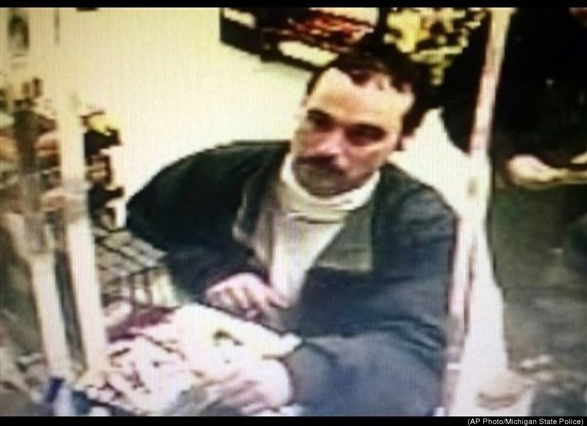 In this surveillance photo from a Middlebury, Ind., gas station provided by the Michigan State Police is Michael David Elliot