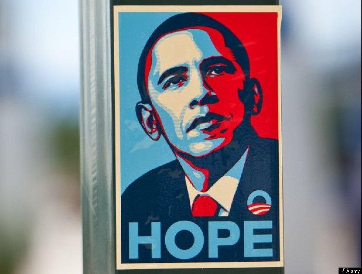 """Hope,"" <a href=""http://www.obeygiant.com/about"" target=""_hplink"">Shepard Fairey</a>, 2008."