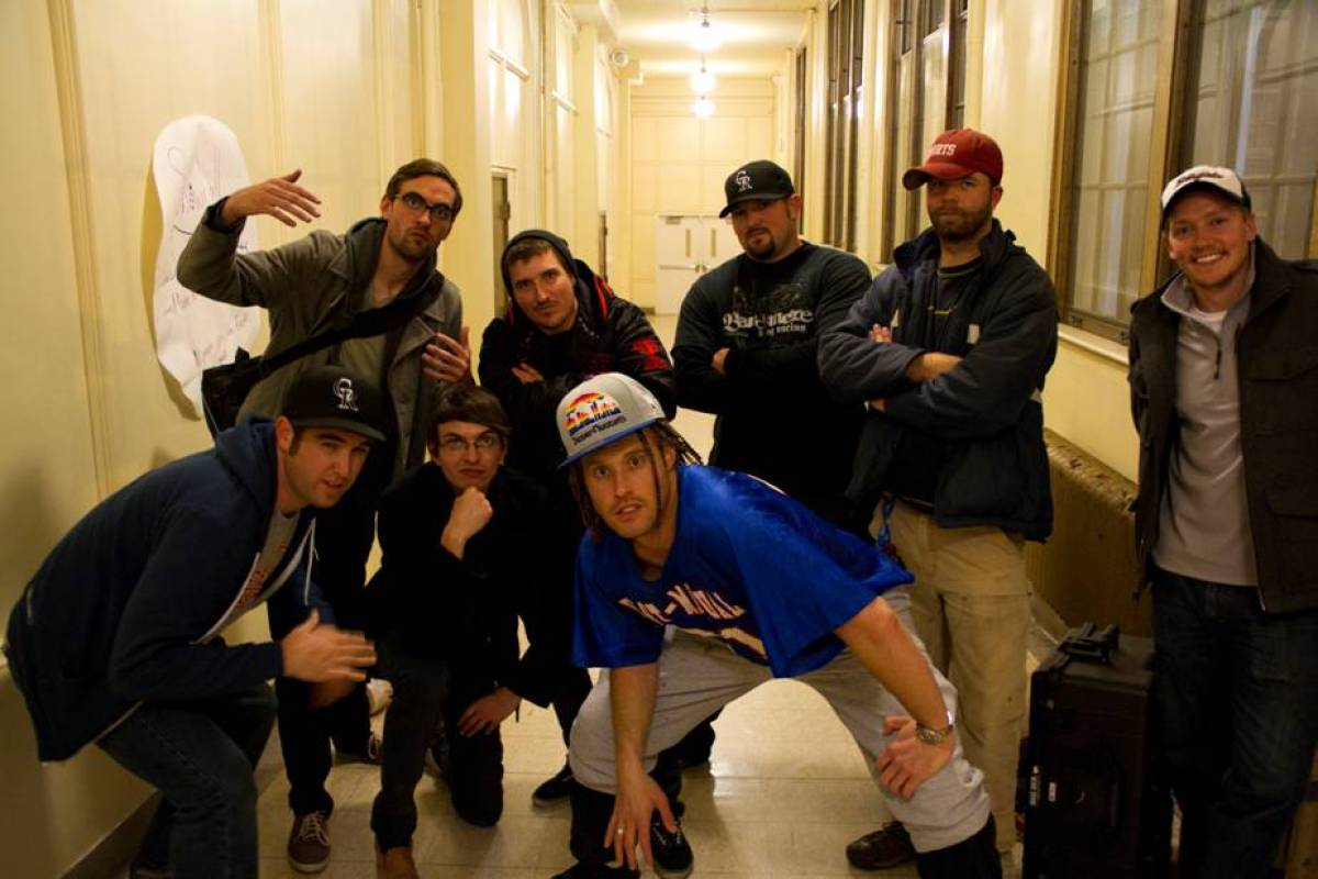 """T.J. Miller and the whole """"Denver"""" video gang at the wrap of the music video shoot."""