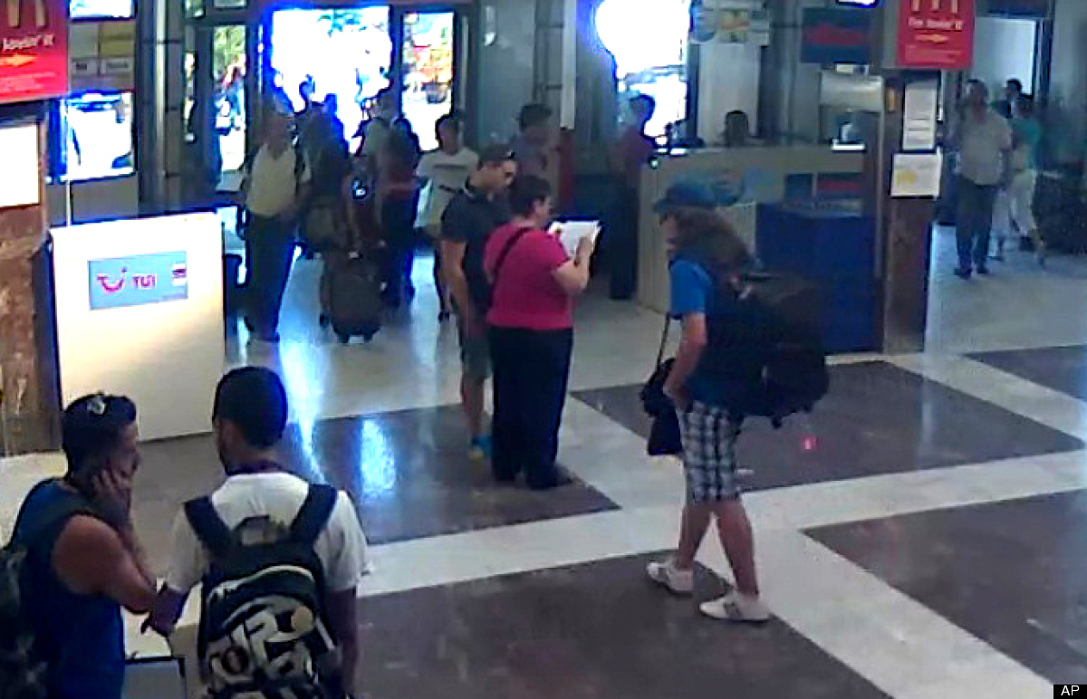 This image taken from security video provided by the Bulgarian Interior Ministry Thursday, July 19, 2012 purports to show the