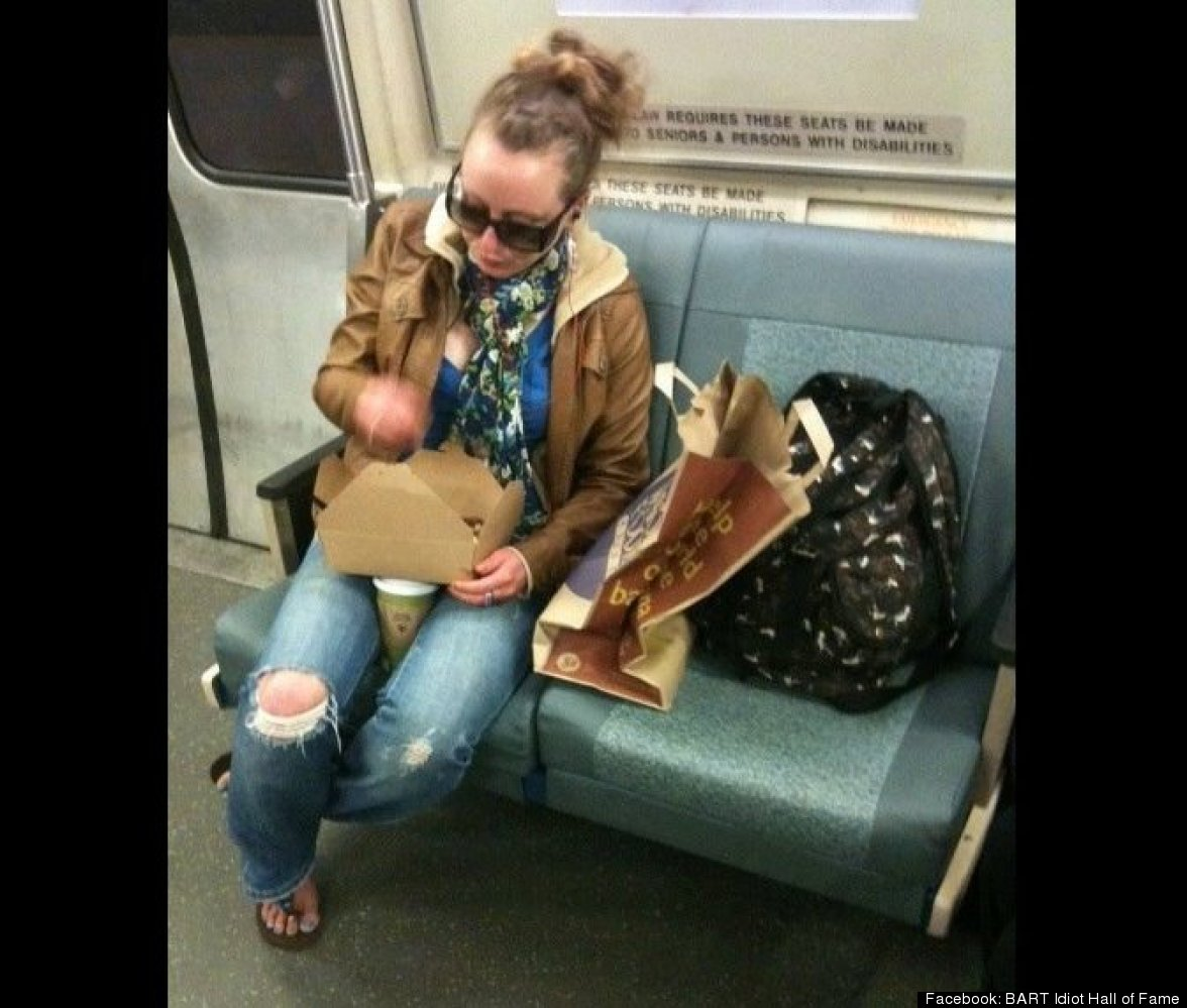 """This woman was too preoccupied in chomping on her overpriced Whole Foods salad to move her bags off of that empty seat""."