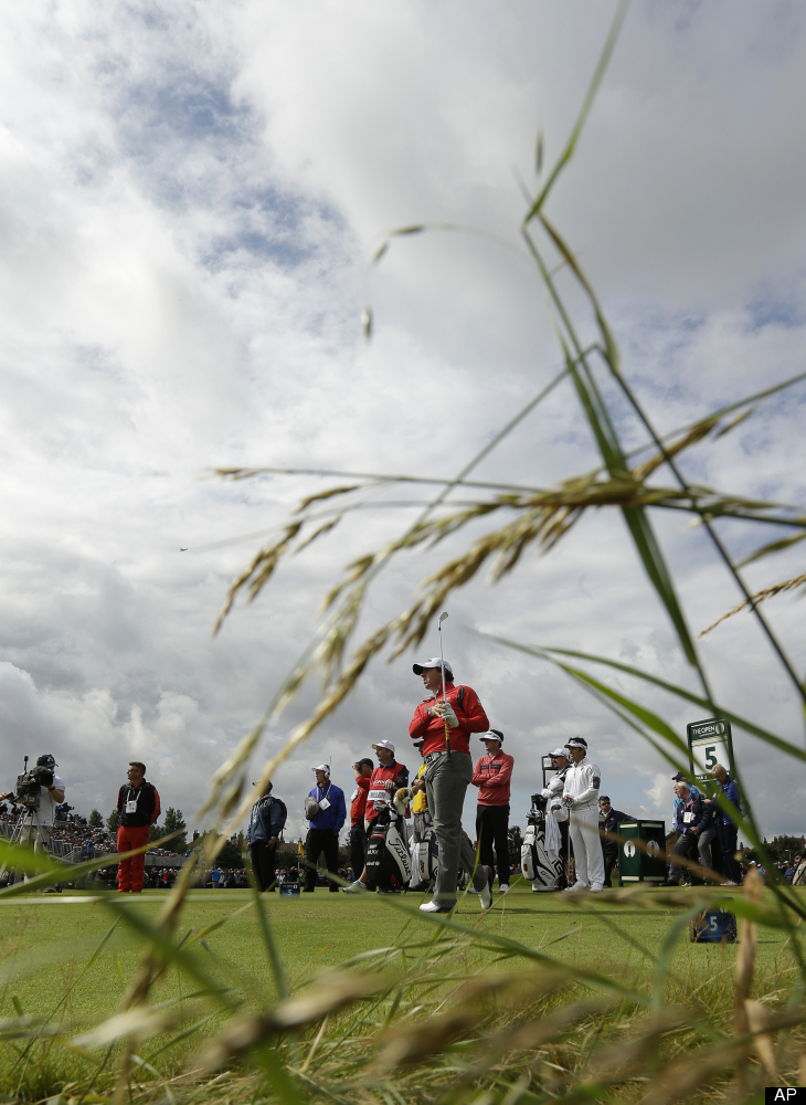 Rory McIlroy of Northern Ireland watches his shot off the fifth tee at Royal Lytham & St Annes golf club during the second ro