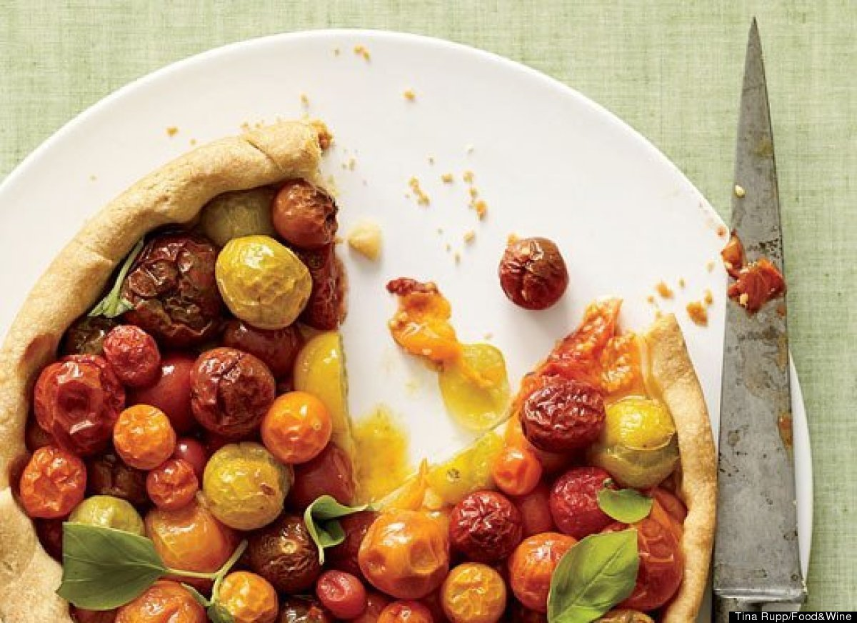 """<strong>Get the <a href=""""http://www.huffingtonpost.com/2011/10/27/cherry-tomato-tart-with-b_n_1058286.html"""" target=""""_hplink"""">"""