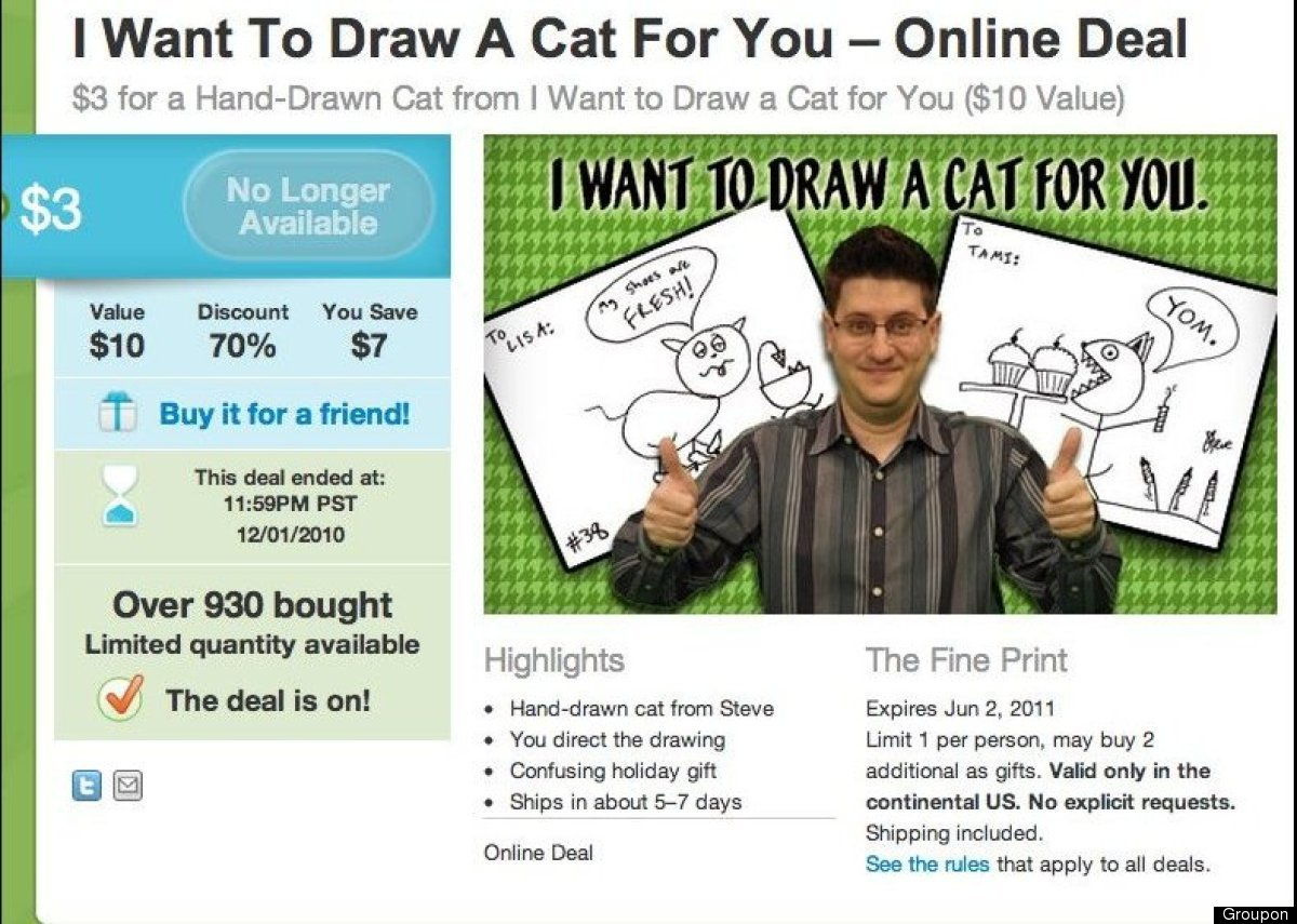 Illustrator Steve Gadlin <em>really</em> wants to draw a cat for you. His Groupon deal, which has since expired, offered draw