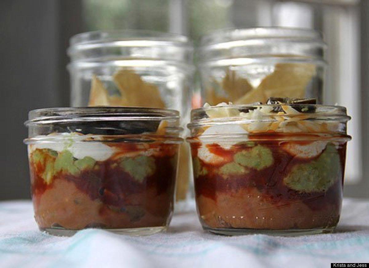 """<strong>Get the <a href=""""http://kristaandjess.wordpress.com/2012/03/23/jar-lunch-7-layer-dip-with-baked-tortilla-strips/"""" tar"""