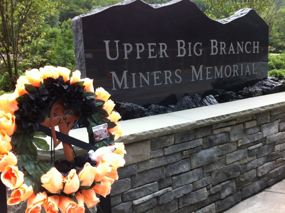 A wreath sits at the entrance of the official Upper Big Branch miners memorial.