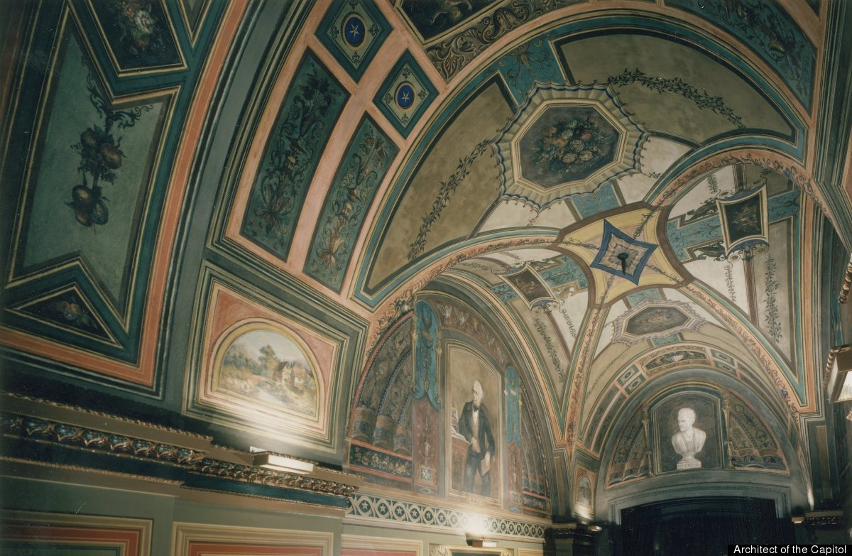 The North Entry; Tempera ceiling by Emmerich Carstens, 1875; Fresco portraits by Constantino Brumidi, 1878