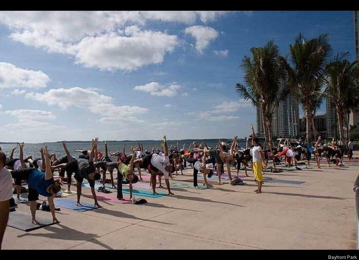 """Where: <a href=""""http://www.bayfrontparkmiami.com/pages/yoga.html"""" target=""""_hplink"""">Tina Hills Pavilion in Bayfront Park</a>"""
