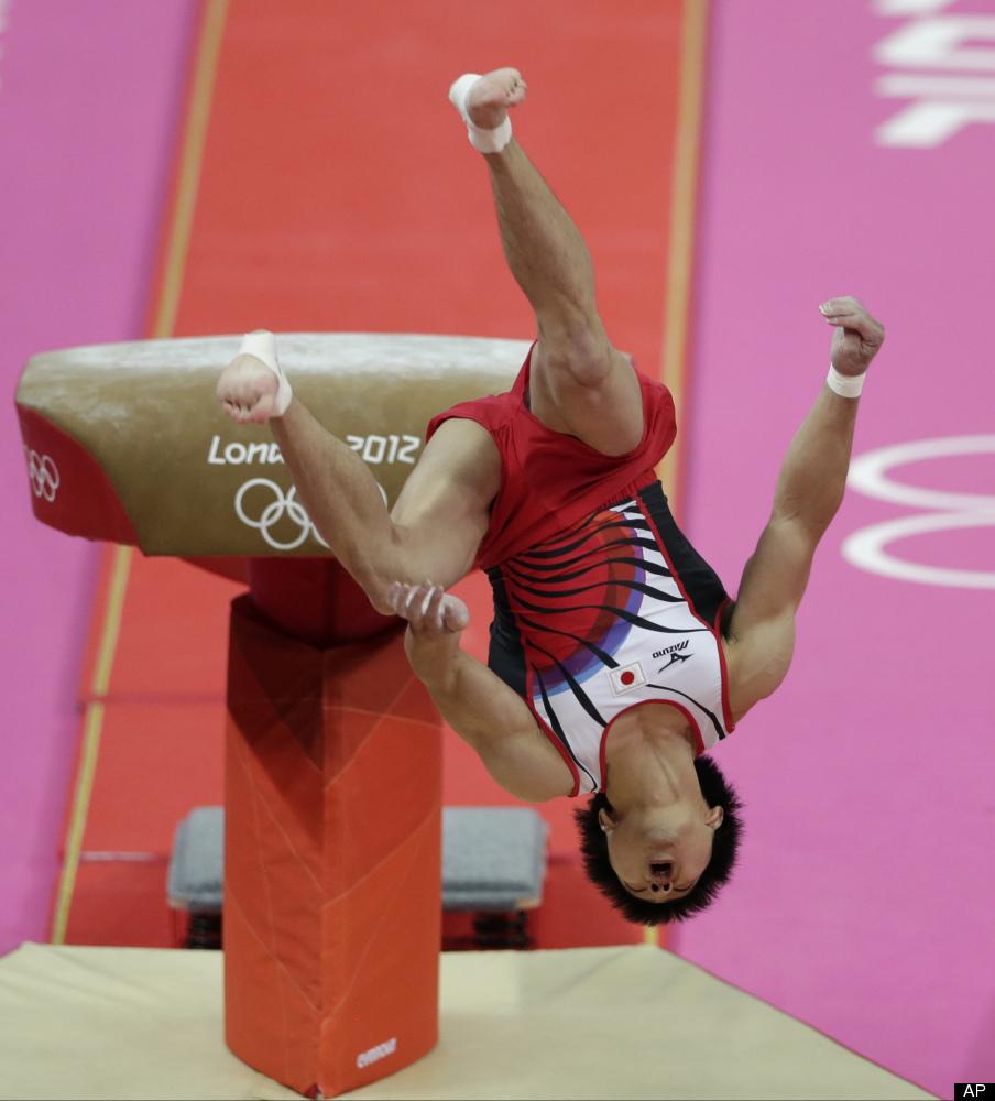 Japanese gymnast Koji Yamamuro fails his vault jump during the Artistic Gymnastic men's team final at the 2012 Summer Olympic