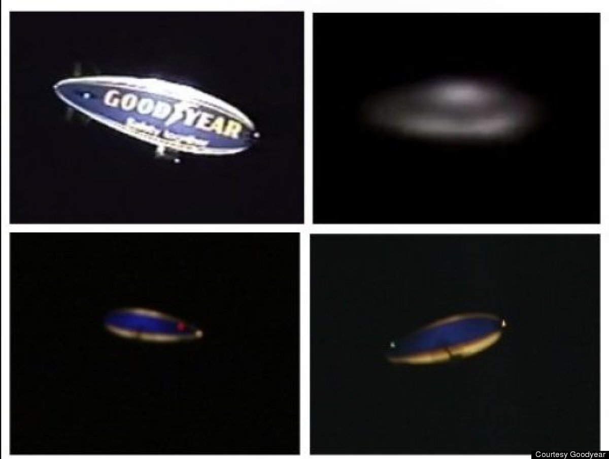 This image shows four configurations of a Goodyear blimp. Upper left displays normal Goodyear branding name; upper right is a