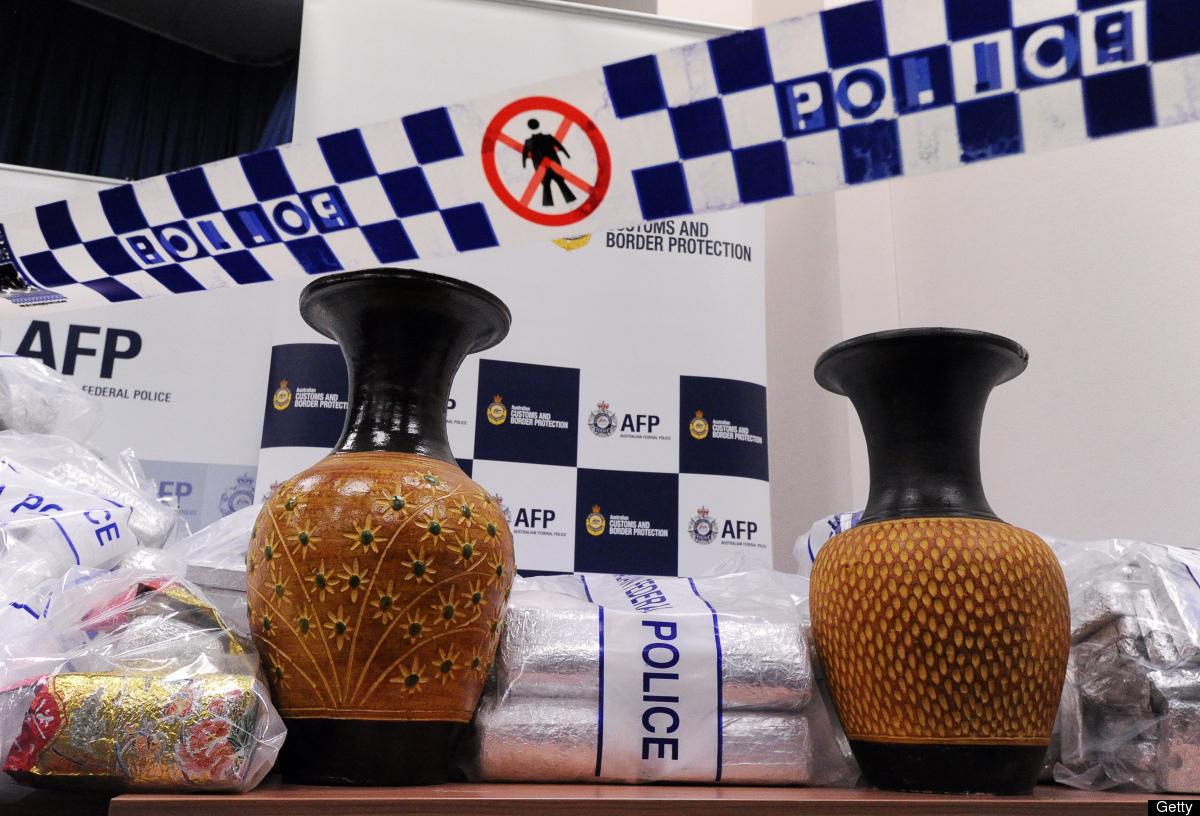 Australian Federal Police (AFP) display ceramic vases used to conceal 525 million USD worth of crystal methamphetamine ('ice'